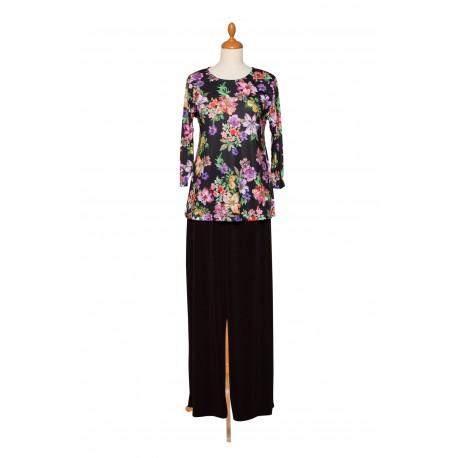 A-line Shirt Blume Hose schwarz